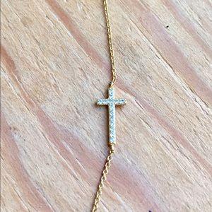 Retired Gold Gorjana Crystal Cross Necklace